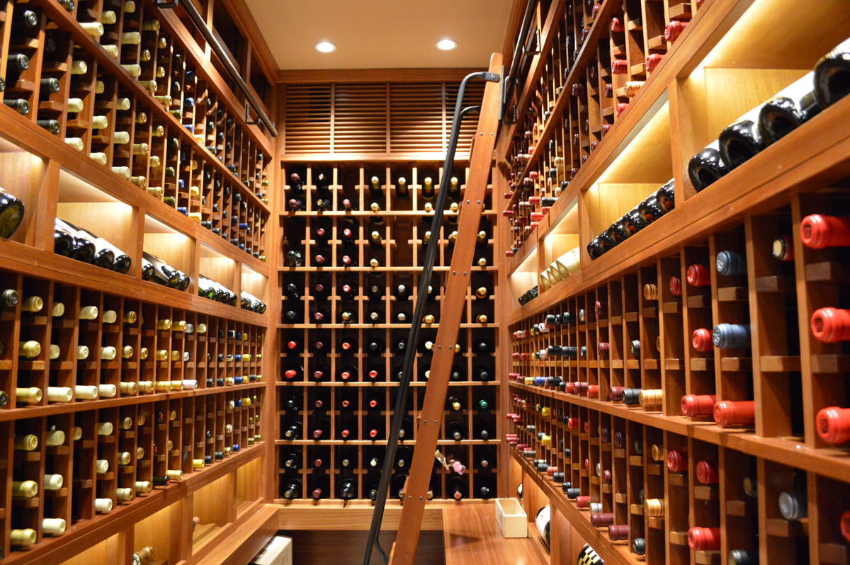 Austin Traditional Custom Wine Cellar Design with Wood