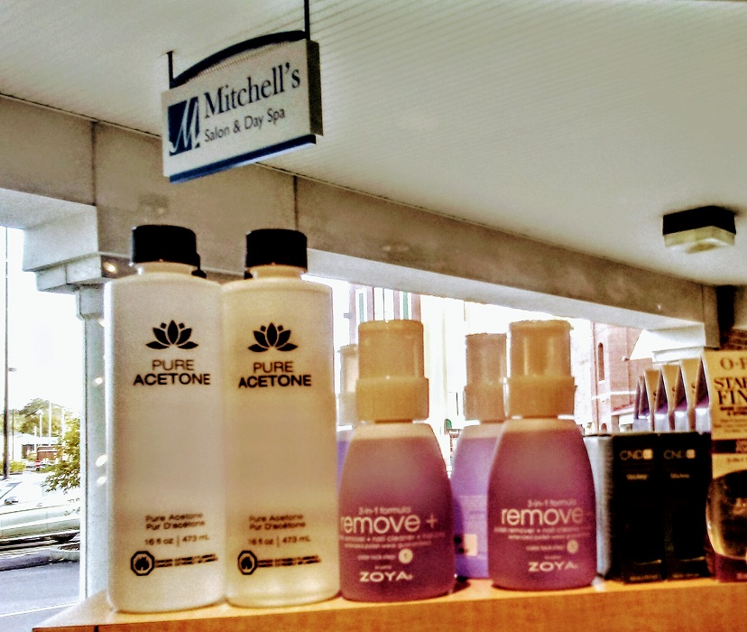 Cosmetic products display at Hyde Park's best beauty salon Mitchell's Salon & Day Spa